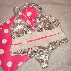 Pink VS floral velvet bralette and thong